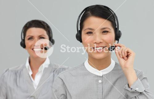 Female Customer service agents with headset on