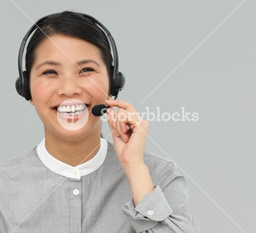 Customer service agent with headset on