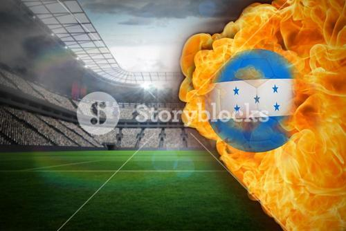 Fire surrounding honduras flag football