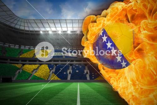 Fire surrounding bosnia flag football