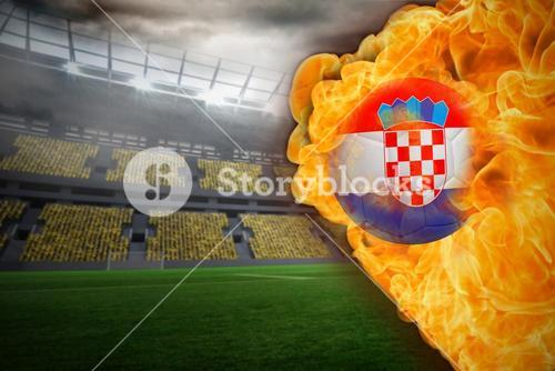 Fire surrounding croatia flag football