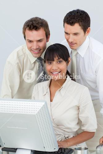 Businessmen and businesswoman in the office