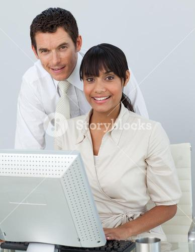 Businesswoman and businessman in the office