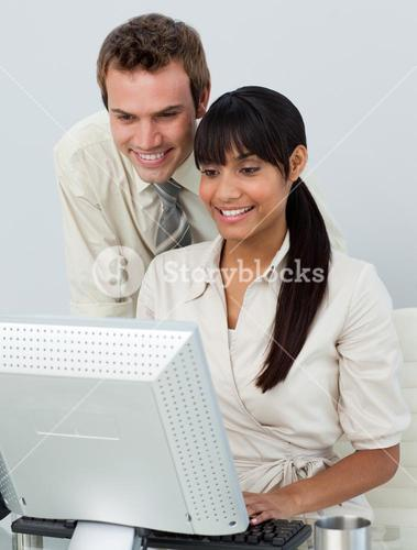 Attractive business people in the office