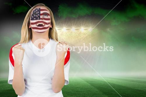 Excited fan in usa face paint cheering