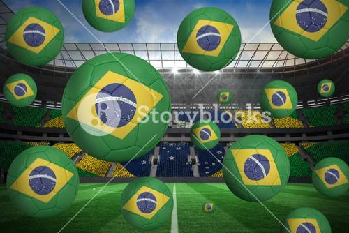 Footballs in brasil flag colours