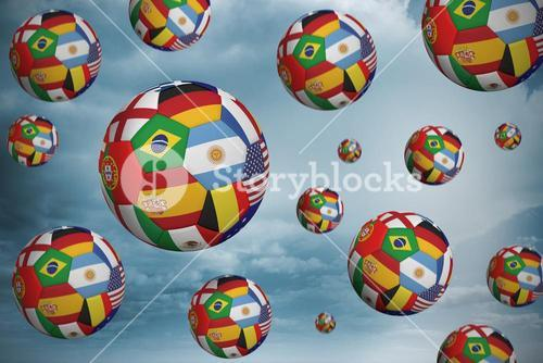 Footballs in international flags