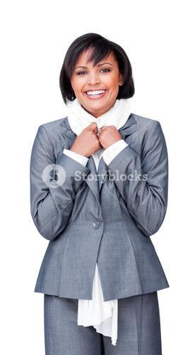 Smiling businesswoman wearing a white scarf