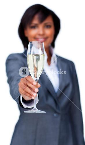 Businesswoman toasting with Champagne