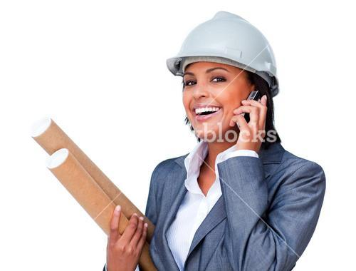Female architect on phone bringing blueprints