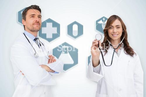 Composite image of happy medical team