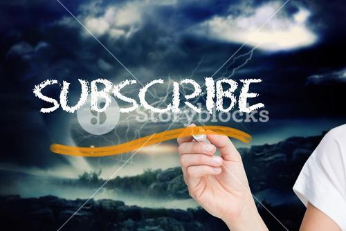 Businesswoman writing the word subscribe