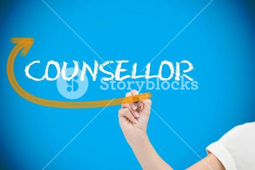 Businesswoman writing the word counsellor