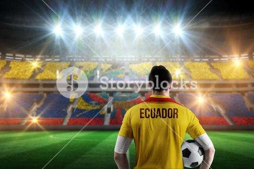 Composite image of ecuador football player holding ball