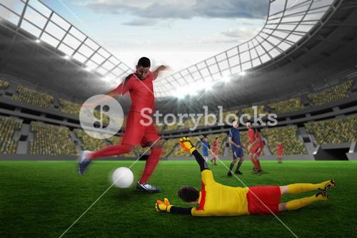 Composite image of football match in progress