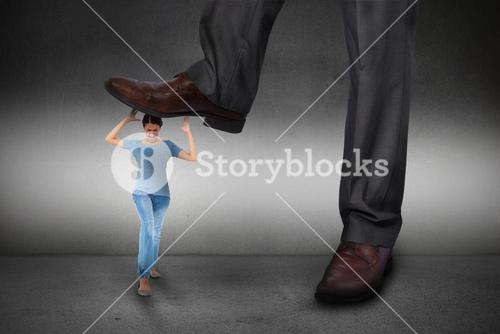 Composite image of businessman stepping on girl