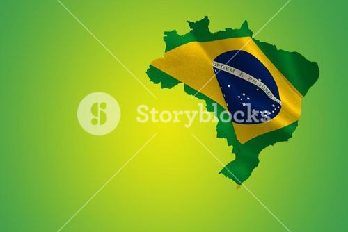 Green brazil outline with flag