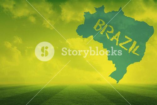 Football pitch with brazil outline and text