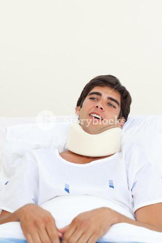 Young patient with a neck brace