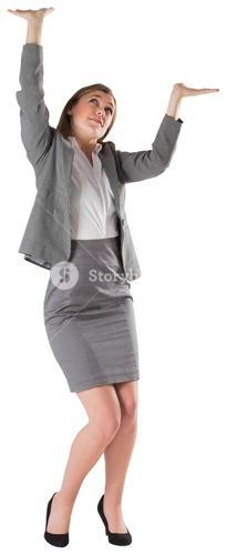Businesswoman pushing up with hands