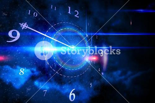 Blue glowing technology design with clock