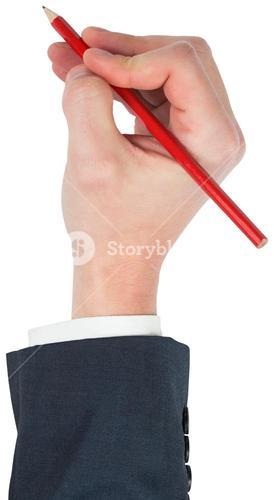 Hand writing with a pencil