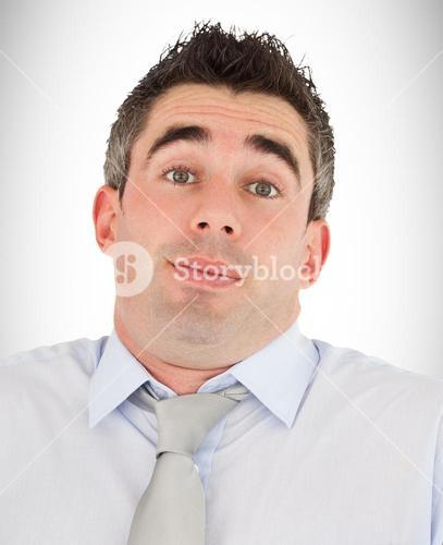 Composite image of clueless office worker posing