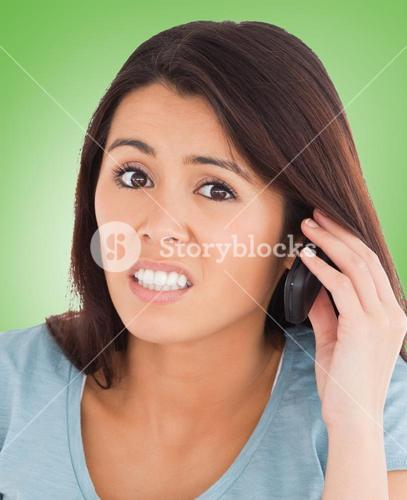 Composite image of pretty upset woman on the phone