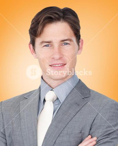 Composite image of assertive businessman standing