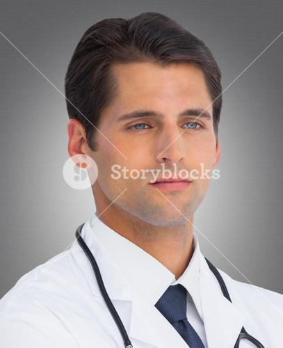 Composite image of serious doctor