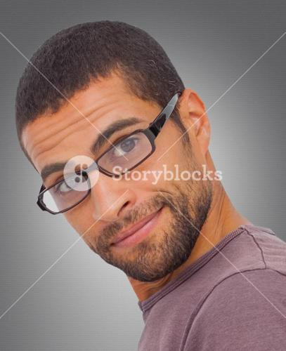 Composite image of man wearing glasses