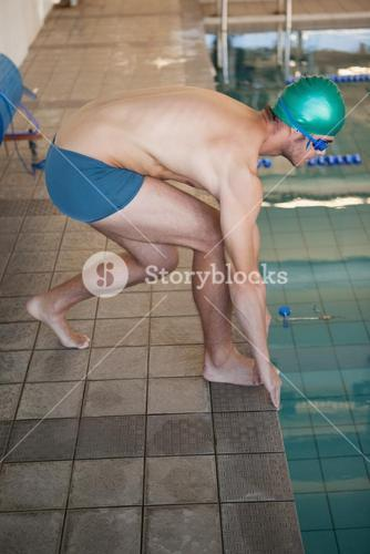 Fit swimmer ready to dive into the pool