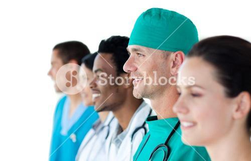 Medical group standing in a line