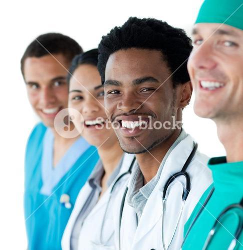 Young medical people against a white background