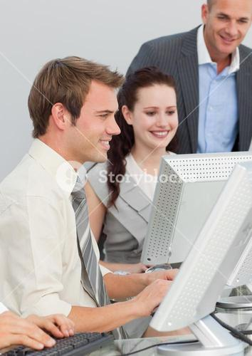 Business people and manager working in an office