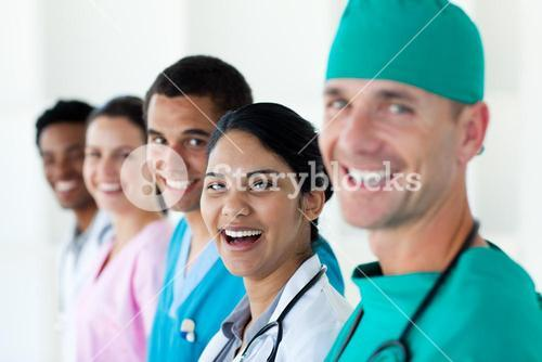 A diverse medical team in a line