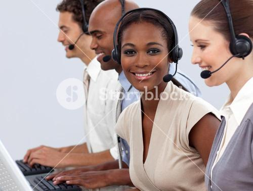 Business coworkers showing diversity in a call center