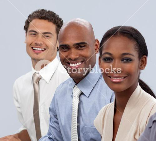 Smiling business people in a line