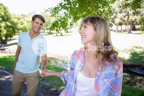 Cute couple walking in the park