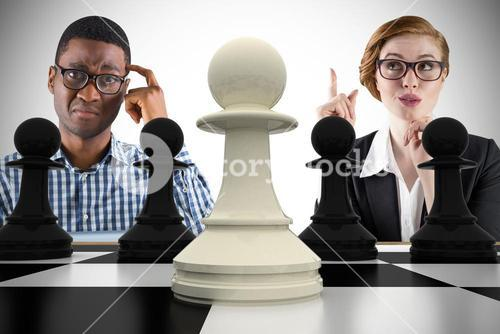 Composite image of business people playing chess