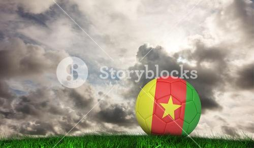 Composite image of football in cameroon colours