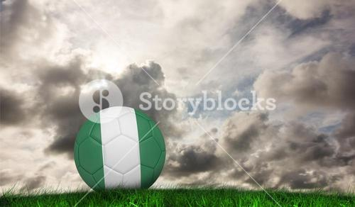 Composite image of football in nigeria colours