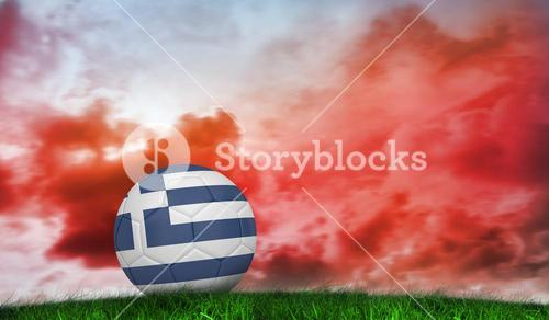 Composite image of football in greece colours
