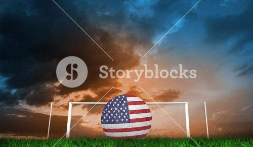 Composite image of football in america colours