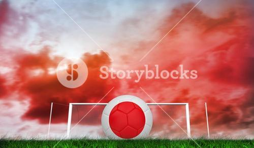 Composite image of football in japan colours