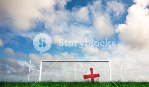 Composite image of football in england colours