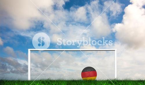 Composite image of football in germany colours
