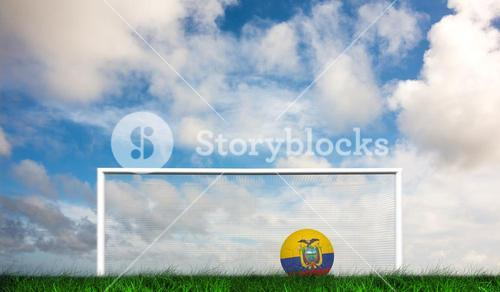 Composite image of football in ecuador colours