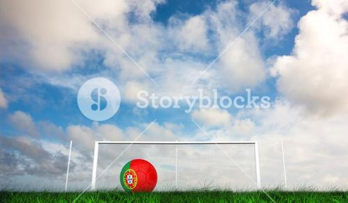 Composite image of football in portugal colours