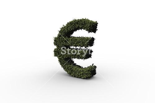 Euro sign made of leaves
